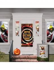 Horror-Clown Haus-Deko Set Halloween-Party schwarz-bunt 82x165cm