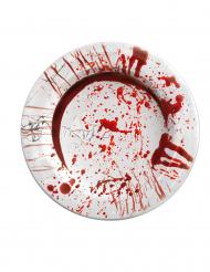 Halloween Pappteller mit blutigen Handabdrücken weiss-rot