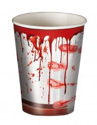 Blutige Becher Horror Pappbecher 8 Stück rot-weiss 266ml