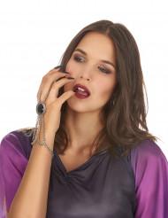 Gothic Armband mit schwarzem Edelstein und Kette