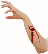 Offener Armbruch Latex-Applikation hautfarben-rot