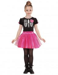 Süßes Skelett Halloween-Kinderkostüm schwarz-weiss-pink