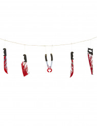 Halloween-Girlande aus blutigem Werkzeug grau-schwarz-rot