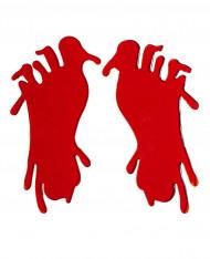 Blutige Fußabdrücke Halloween-Aufkleber 2 Stück rot 22cm