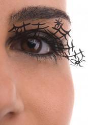 Unechte Wimpern Spinnwebe mit Spinne Make-up Zubehör schwarz