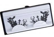 Falsche Wimpern mit Friedhof Halloween Kostüm-Accessoire schwarz