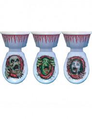 Blutbad Skelett Toiletten-Folie Halloween-Deko rot-beige 18x24cm