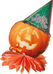 Kürbis mit Hut Halloween-Tischdekoration orange-grün-lila