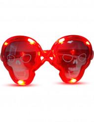 Rote Leucht-Brille Totenkopf rot