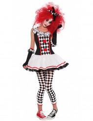 Süsser Harlekin Clown Teen-Kostüm schwarz-weiss