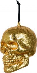 Goldener Totenkopf: Halloween Dekoration zum Aufhängen gold