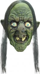 Böse Märchenhexe Hexenmaske mit Haaren grün-schwarz