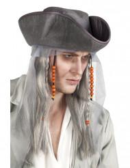 Geister-Pirat Halloween Hut mit Perücke grau