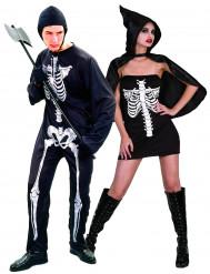 Skelett-Paarkostüm Halloween-Kostüm für Paare schwarz-weiss