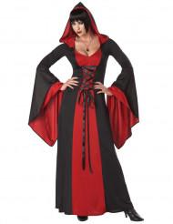 Teuflisches Damenkostüm Kapuzenkleid schwarz-rot