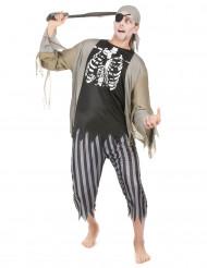Zombiepiraten-Kostüm Untoter Seeräuber schwarz-grau-weiss