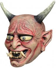 Japanische Oni Dämon-Maske rot-beige-grau