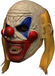 3/4 Horrorclown-Maske Deluxe-Horrorclown Latexmaske weiss-bunt