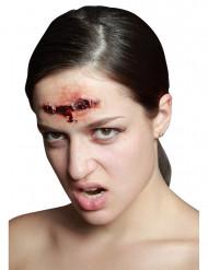 Wunde mit Metallklammer-Optik Halloween Kostümaccessoire rot