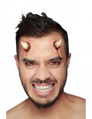 Blutige Teufelshörner-Latexapplikation Dämonenhörner-Applikation 2 Stück rot-weiss