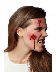 Offene Fleischwunden-Latexapplikationen Halloween-Wundenapplikationen 2 Stück hautfarbe-rot