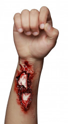 Offene Armwunde-Latexapplikation  Halloween-Wundenapplikation rot-weiss