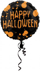 Happy Halloween Folien-Luftballon Halloween Party-Deko schwarz-orange 43cm