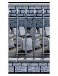 Friedhof Wandfolie Halloween-Deko grau-schwarz 1,20x12m