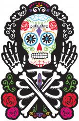 Tag der Toten Sugar Skull Pappfigur Halloween Party-Deko schwarz-bunt 38x22cm