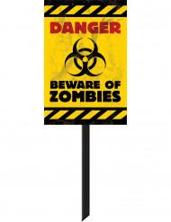 Beware of Zombies Party-Schild Halloween Party-Deko gelb-schwarz 58x25cm
