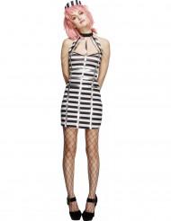 Sexy Gefangenen-Kostüm für Damen schwarz-weiß