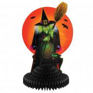 Tischdekoration für Halloween Böse Hexe schwarz-orange 30 x 19 cm