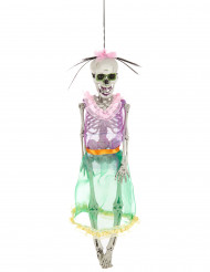 Mexikanisches Skelett Tag der Toten Dekopuppe weiss-bunt 40cm