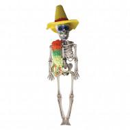 Mexikaner Skelett Hänge-Deko weiss-bunt