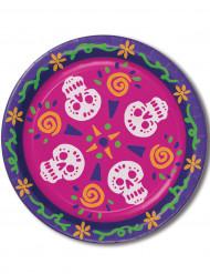 Fröhliche Sugar Skull Pappteller Tag der Toten Tischdeko 8 Stück bunt 23cm