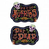 Tag der Toten Partyschild Halloween-Deko schwarz-bunt 46x33cm
