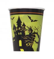 Halloween Becher Geisterschloss Becher Set 8 Stück grün-schwarz 255ml