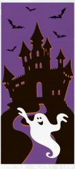 Halloween-Süßigkeiten Tüten Geisterschloss-Tüten 20 Stück lila-schwarz-weiss 28x13cm