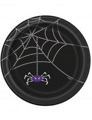 Spinnen Teller Halloween Pappteller Set 8 Stück schwarz-weiss 23cm