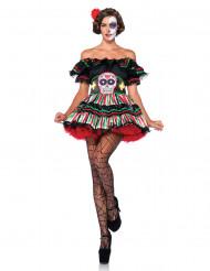 Sexy Tag-der-Toten-Kleid Dia de los Muertos Damenkostüm schwarz-bunt