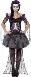Elegantes Skelett Sugar Skull Damenkostüm schwarz-lila