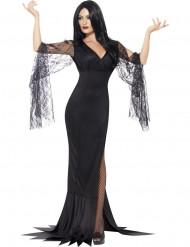 Elegante Gothic-Hexe Halloween-Damenkostüm schwarz