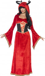 Elegante Teufelin Halloween Damenkostüm rot-schwarz