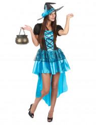 Sexy Hexe Damenkostüm für Halloween blau-schwarz