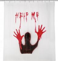 Blutiger Duschvorhang Help Me Halloweendeko weiss-rot 180x180cm