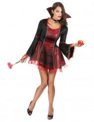 Barock Vampirin Halloween-Damenkostüm rot-schwarz
