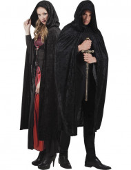 Fantasy Samt-Umhang Cape mit Kapuze Vampirin schwarz-rot