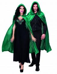 Eleganter Samt-Umhang Kapuzen-Cape grün