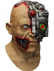 Animierte Cyborg-Maske Science-Fiction-Maske hautfarben-grau-rot