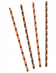 Strohhalme Partyzubehör 10 Stück schwarz-orange gepunktet 21 cm hoch